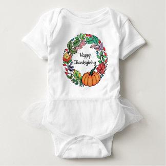 Body Para Bebê Grinalda bonita da abóbora da aguarela com folhas