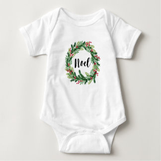 Body Para Bebê Grinalda da aguarela do Natal
