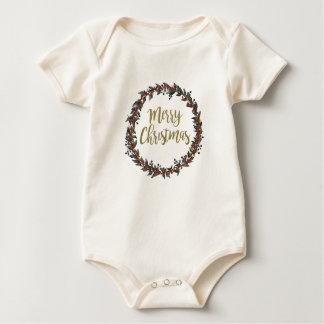 Body Para Bebê Grinalda da aguarela - Feliz Natal - ramos