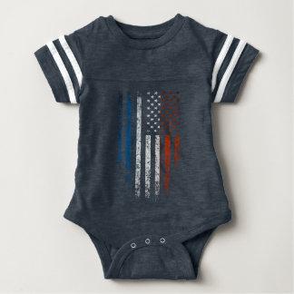Body Para Bebê Grunge francês da bandeira americana