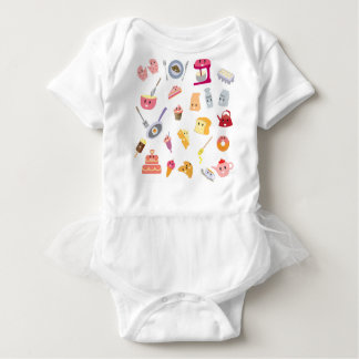Body Para Bebê Grupo bonito do ícone da cozinha da bebida e do