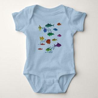 Body Para Bebê Grupo colorido de peixes subaquáticos