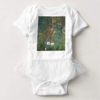Body Para Bebê Gustavo Klimt - flores dos girassóis do jardim do