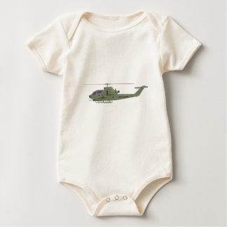 Body Para Bebê Helicóptero de Apache no perfil da vista lateral