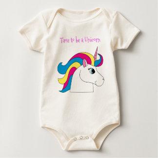 Body Para Bebê Hora de ser um Bodysuit de Oraganic do unicórnio