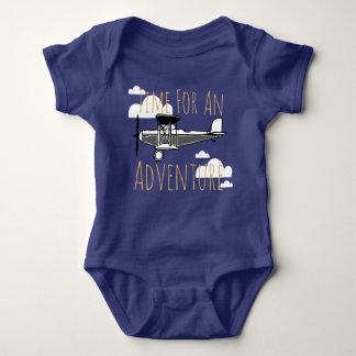 Body Para Bebê Hora para um avião do vintage da aventura