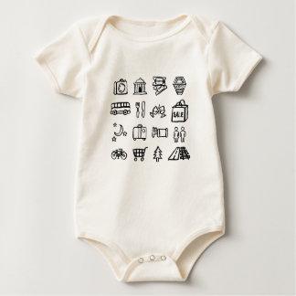Body Para Bebê Ícones do turismo e do viagem