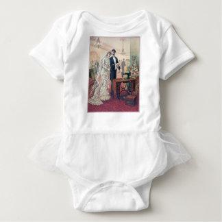 Body Para Bebê Ilustração dos noivos do vintage