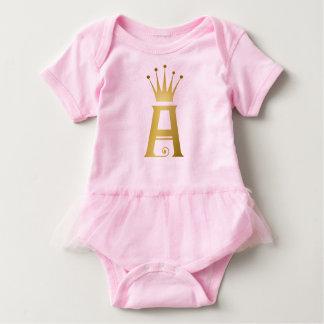 Body Para Bebê Inicial do ouro um tutu do bebê do monograma da
