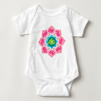 Body Para Bebê Ioga do OM da flor de Namaste Lotus