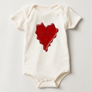 Body Para Bebê Jason. Selo vermelho da cera do coração com Jason