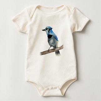 Body Para Bebê Jay azul na pintura da aguarela do ramo