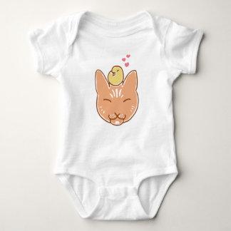 Body Para Bebê Jérsei do bebê do amigo do gatinho e do Chickadee