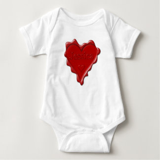 Body Para Bebê Jessica. Selo vermelho da cera do coração com