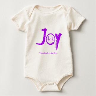 """Body Para Bebê Kanji roxo da alegria dentro do círculo """"alegria"""""""
