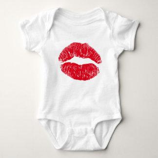 Body Para Bebê Lábios de beijo do vermelho