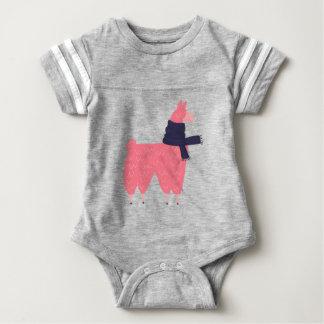 Body Para Bebê Lama cor-de-rosa que veste um lenço
