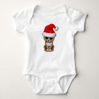 Body Para Bebê Leão Cub bonito que veste um chapéu do papai noel