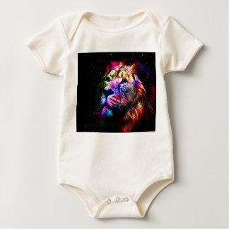 Body Para Bebê Leão do espaço - leão colorido - arte do leão -