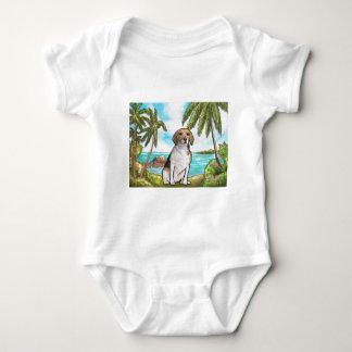 Body Para Bebê Lebreiro na praia tropical das férias