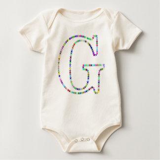 Body Para Bebê Letra G da estrela do arco-íris