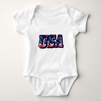 Body Para Bebê Letras da bandeira dos EUA, Bodysuit do jérsei do