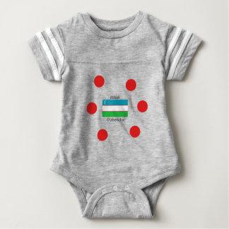 Body Para Bebê Língua do Uzbeque e design da bandeira de