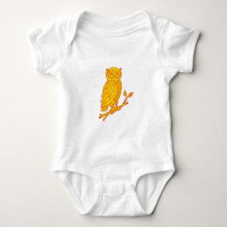 Body Para Bebê Linha empoleirando-se do ramo da coruja Horned