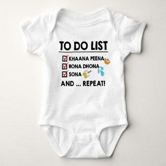 Body Para Bebê Lista de afazeres do bebê de Desi! (Coma, grite,