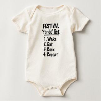 Body Para Bebê Lista do tumulto do ` do festival' (preto)