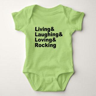 Body Para Bebê Living&Laughing&Loving&ROCKING (preto)
