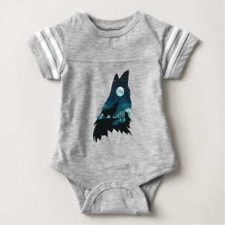 Body Para Bebê Lobo que urra com floresta