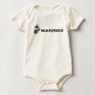 Body Para Bebê Logotipo do USMC - preto