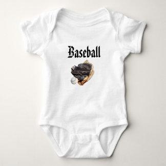 Body Para Bebê Logotipo e luvas do basebol,