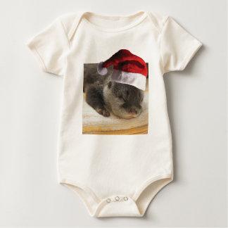 Body Para Bebê Lontra sonolento do Natal