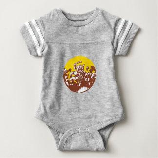 Body Para Bebê Losi que derrota o Woodcut do círculo do deus