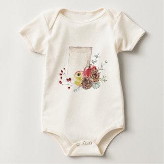 Body Para Bebê Maçãs e watercolour. dos cones