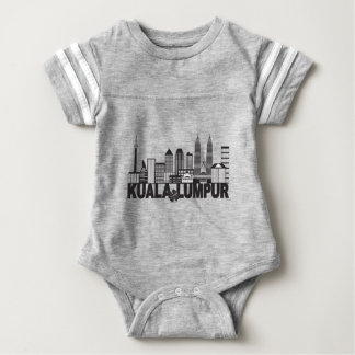 Body Para Bebê Mal preto e branco do texto da skyline da cidade