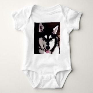 Body Para Bebê Malamute do Alasca de sorriso preto e branco
