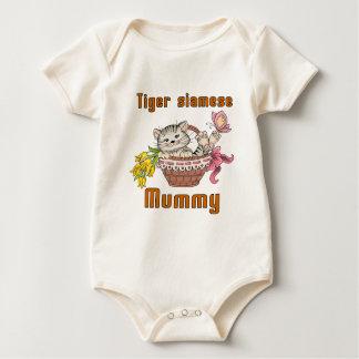 Body Para Bebê Mamã do gato siamese do tigre