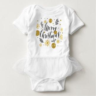 Body Para Bebê Mão dourada bonito escrita brilhos do Feliz Natal