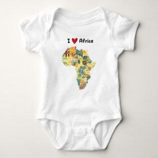 Body Para Bebê Mapa africano do safari - coração África de I -