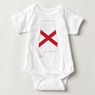 Body Para Bebê Mapa da bandeira de Alabama