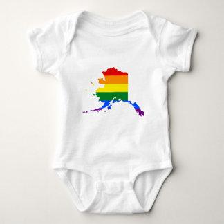 Body Para Bebê Mapa da bandeira de Alaska LGBT