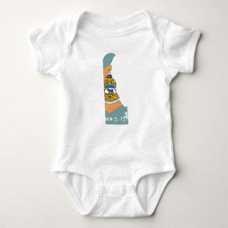 Body Para Bebê Mapa da bandeira de Delaware