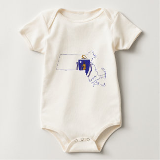 Body Para Bebê Mapa da bandeira de Massachusetts