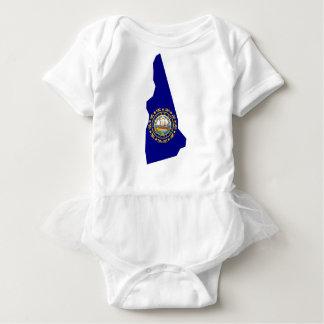 Body Para Bebê Mapa da bandeira de New Hampshire