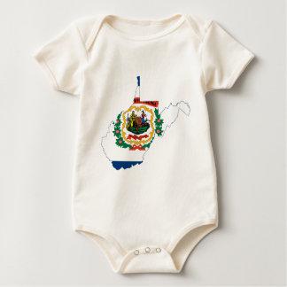 Body Para Bebê Mapa da bandeira de West Virginia