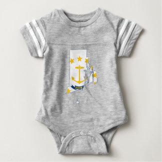 Body Para Bebê Mapa de Rhode - ilha da bandeira