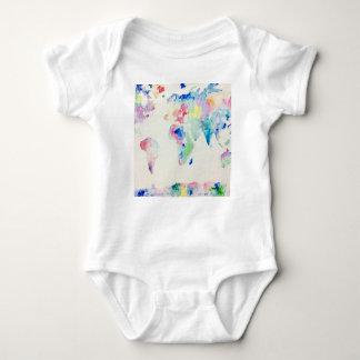 Body Para Bebê mapa do mundo da cor de água
